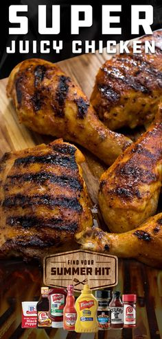 """Super Juicy Chicken"" is literally the name of the game. Coat chicken in McCormick Grill Mates Sweet & Smoky Rub and a kick of tangy French's Yellow Mustard. Let the grill do the rest. Turkey Recipes, Meat Recipes, Chicken Recipes, Dinner Recipes, Cooking Recipes, Healthy Recipes, Cooking Tips, Dinner Ideas, Good Food"