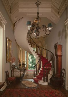 1848 Greek Revival style floating staircase, Charles L. Shrewsbury House, Madison, Indiana