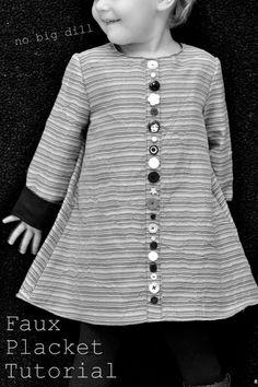 BOTANADURA FALSA  no big dill: Faux Placket Tutorial--For those who love buttons, but not making buttonholes