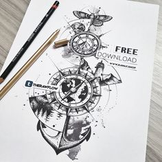 "Free download!  Dotwork ""wanderlust"" artwork with compass, anchor and nature - download the full size pdf version for free at RAW AF shop. It's a large piece, works as a full thigh or side tattoo, but you can also use certain parts of it for a..."