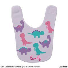 Girl Dinosaur Baby Bib