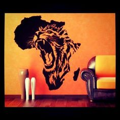 Lion in Africa wall deco Africa Tattoos, African Symbols, Creation Art, Africa Art, Arte Pop, Tier Fotos, Lion Tattoo, Tiger Tattoo, My Living Room