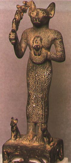 Bastet, the ancient Egyptian cat goddess, can be traced back as far as BC Cats In Ancient Egypt, Ancient Art, Ancient History, Egyptian Cat Goddess, Egyptian Cats, Cat Statue, Ancient Civilizations, Egyptians, Gods And Goddesses