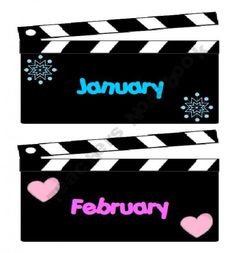 Printable months for Hollywood theme- cute idea for the months