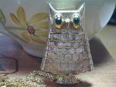 Vintage Owl Locket Necklace