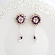 Cuelgan aretes pendientes de fiesta púrpura Pendientes de