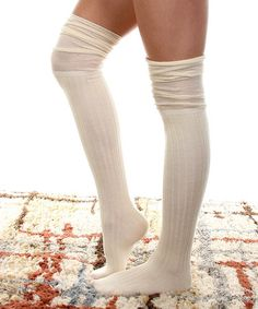 Look what I found on #zulily! Cream Corduroy Over-the-Knee Socks #zulilyfinds