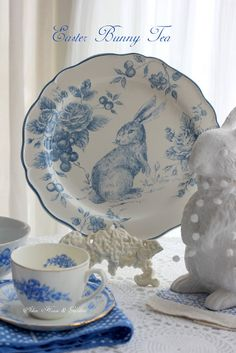 Spring is in the air here with the promise of some double digit( Ce. Blue And White China, Blue China, China China, Blue Dishes, White Dishes, Blue Bunny, Easter Parade, Easter Table, China Patterns