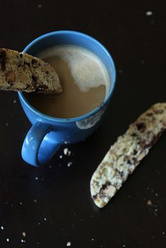 Perfect for dunking: Orange Almond chocolate chunk biscotti !