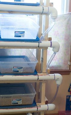 Hydroponics Diy hydroponic fodder system - We're currently feeding our goats and chickens organically for 6 cents a pound. This is how we're doing it: I have friends who are SO much smarter than I am! This is a hydroponic fodde… Aquaponics System, Fodder System, Hydroponic Farming, Hydroponic Growing, Aquaponics Diy, Growing Plants, Aquaponics Greenhouse, Permaculture, Hydroponic Systems