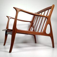 Vintage Mid Century Danish Modern Lounge Chair - Italian Walnut Wood - Restored