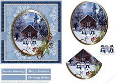 Blue Winter Christmas Scene - Snowmen   Craftsuprint