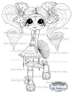 INSTANT DOWNLOAD Digital Digi Stamps Big Eye Big Head Dolls Digi  My Besties IMG341 By Sherri Baldy