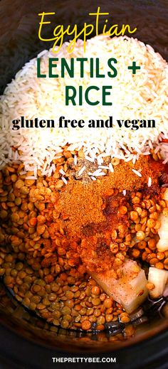 Make the easiest, tastiest, gluten free crockpot recipe ever! This Egyptian lentils and rice recipe is simple and flavorful. #slowcooker #rice #vegan Crockpot Rice Recipes, Rice Recipes Vegan, Gluten Free Recipes For Dinner, Slow Cooker Recipes, New Recipes, Vegetarian Recipes, Healthy Recipes, Crockpot Meals, Vegan Meals