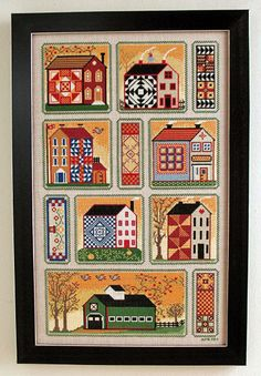 Cross Stitch Chart Quilt and Vine House 1 Quilty Neighborhood PDF Pattern FAAP by AnnieBeezFolkArt on Etsy https://www.etsy.com/listing/86459807/cross-stitch-chart-quilt-and-vine-house