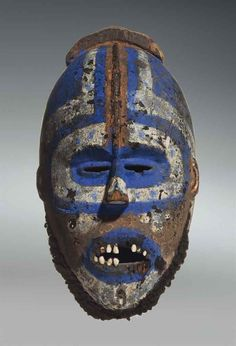A GREBO MASK Maryland County, Area of Nyaake, Liberia wood with pigment, human teeth and hair Height: 20 in. Arte Tribal, Tribal Art, African Masks, African Art, Larp, Human Teeth, Art Chinois, Art Premier, Live Action