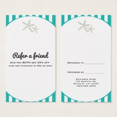 Refer a friend referral card pinterest business cards salon starfish teal turquoise striped refer a friend business card colourmoves