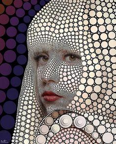 Digital ciclist portrait of Lady Gaga by  the artist Ben Heine