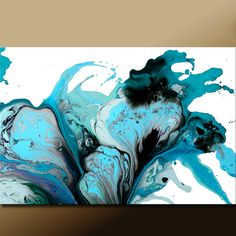 Abstract Art Print 18x24 Matted Turquoise Teal Aqua & Black Contemporary Wall Art by Destiny Womack - Pure Emotion - dWo. $45.00, via Etsy.