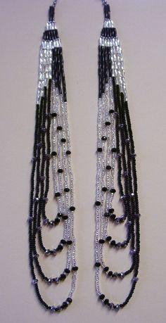 Details about Silver & Black Long Earrings Native Style Seed Bead Handmade In USA By Me - DIY-Reifen errings Seed Bead Bracelets Tutorials, Beaded Bracelets Tutorial, Beads Tutorial, Beaded Necklace Patterns, Diy Ombre, Diy Earrings, Hoop Earrings, Seed Beads, Bugle Beads