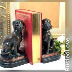 BOOKENDS BOOK END KOALA PAIR CAST IRON VINTAGE LOOKS GREAT OLD BADGE