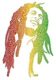 Bob Marley - Illustrator creates pop icon portraits with typography depicting their popular hits Bob Marley Kunst, Bob Marley Art, Typography Portrait, Typography Art, Lettering, Creative Typography, Vintage Typography, Fotos Do Bob Marley, Rasta Art