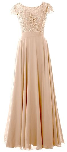 MACloth Women Cap Sleeve Mother of the Bride Dress Lace Long Evening Formal Gown (16w, Champagne). Quality Made-To-Order Dresses. Please have your measurements taken first by a professional tailor or measure yourself by following the measure guide (see the product pictures). Find your proper size in our Size Chart, or provide us the following measurements in the Product Description for more fitted dresses and choose the closest size to you when making the order. You will receive an...