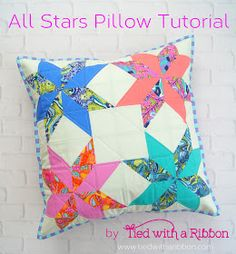 All Stars Pillow Tutorial by Tied with a Ribbon, fabrics are Tula Pink All Stars, Solids and Stripes Lap Quilts, Mini Quilts, Quilt Blocks, Mini Quilt Patterns, Modern Quilt Patterns, Pillow Patterns, Diy Throw Pillows, Pink Pillows, Patchwork Pillow