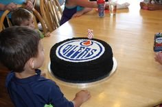 """Via Christina Henriques Tweten: """"For our son's Oilers themed birthday party. He's already a big fan! Hockey Birthday Parties, Hockey Party, Birthday Party Themes, 4th Birthday, Birthday Cakes, Birthday Ideas, Hockey Cakes, Unique Cakes, Muffin Recipes"""