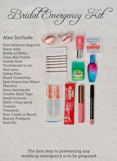 wedding survival kit! every maid of honor, take notes ;)
