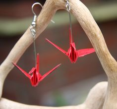 Origami Earrings  Traditional Crane  Red with by JojiCreations
