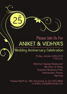 25th Wedding Anniversary Invitation black theme from inviteonline