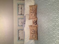 Burlap pillows. Got at Unclaimed Baggage