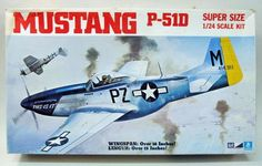 2-3502.  MUSTANG P-51D.  1:24.  1960's. molded in white.  ex-Airfix.  Features: removable body panels showing complete Packard-Merlin engine and firewall; sliding canopy; full cockpit; retractable landing gear; moving control surfaces.  LARGE kit.  part mints but decals have crazing.  Box excellent. mpc-p51d.JPG (615×392)