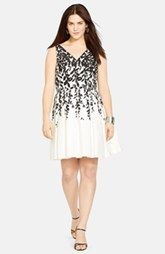 Lauren Ralph Lauren Print Sleeveless Pleated Fit & Flare Dress (Plus Size)