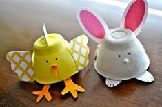 DIY Spring Bunnies & Chickies - egg carton craft for the kids Kids Crafts, Preschool Crafts, Easter Crafts, Projects For Kids, Diy For Kids, Easter Ideas, Spring Crafts, Holiday Crafts, Holiday Fun