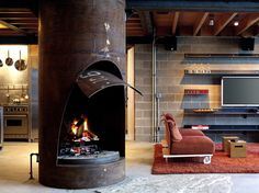 Chicken Point Cabin wood burning stoves, interior, minimalist architecture, living rooms, fireplac, cabin living, basement, hous, place