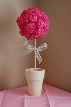 Knocking it off...: How To: Crepe paper rose pomander ball and topiary