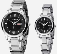 EYKI Couple Quartz Waterproof Wristwatches in Pack Of Two Black Stainless Band >>> You can get additional details at the image link.Note:It is affiliate link to Amazon.