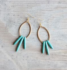 "Turquoise spike earrings "" Nereus """