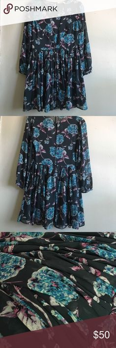 Blue floral long sleeved dress Long sleeved blue and purple floral dress bought at Urban Outfitters. Never worn, a light weight chiffon material that flows. Kimchi Blue Dresses Mini