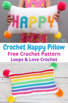 The Crochet Happy Pillow is so fun to make and the bright colors make it so cheerful to look at! This pillow can brighten up any room, or mood! Free crochet pattern by Loops Bag Crochet, Crochet Home, Love Crochet, Crochet Crafts, Crochet Baby, Crochet Projects, Afghan Crochet, Crotchet, Crochet Cushions