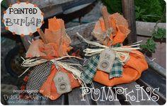 Craft Junkie Too: {Painted Burlap} Pumpkins Tutorial