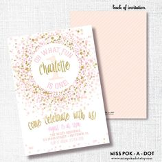 PINK GOLD CONFETTI oh what fun first birthday by misspokadot