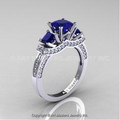French 14K White Gold Three Stone Princess Blue Sapphire Diamond Engagement Ring R183-14KWGDBS