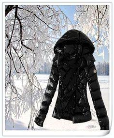 Cheap Moncler Womens Down Jackets Zip Fur Collar Black Outlet Moncler-Online-Sale.