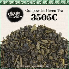 "Gunpowder green tea 3505C Also known as ""pearl"" tea, Gunpowder is only produced in the Zhejiang province. These tightly rolled balls of leaves resemble gunpowder pellets, which allow them to be kept longer than other teas. By the end of the seventeenth century, it has become a popular choice of tea in England, North America, Russia, France and Africa. With its durable aftertaste, strong flavor and a general mellow taste, it is also called ""green pearls""."