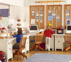 corkboards ... one for each child!  They decorate with their projects, favorites, etc.