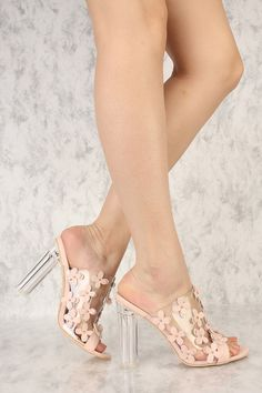 d7e200537a0a Blush Clear Floral Accent Peep Toe Slip On Chunky High Heels Faux Leather