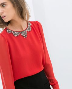 ZARA - NEW COLLECTION - TOP WITH COLLAR DETAIL